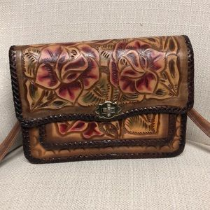 Vintage Tooled Mexico Leather Satchel